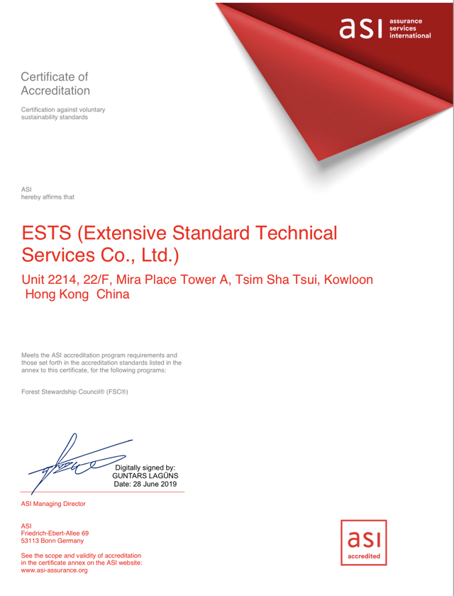 ASI Accreditation Certificate for ESTS